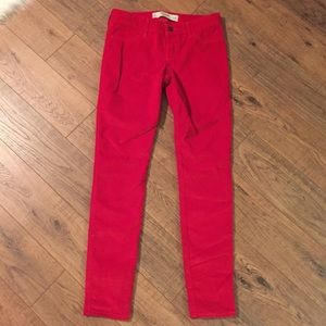 ABERCROMBIE & FITCH Red Corduroy Jeans, Low Rise